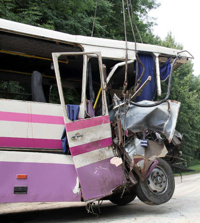 KOVEL, UKRAINE - JULY 11: Scene of bus crash where nine Ukrainian, Belarusian and Bulgarian Tourists were died and as many as 30 others were injured July 11, 2013 just outside Kovel, Ukraine.