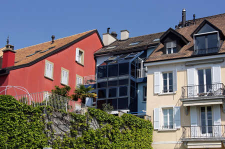 balcony window: Urban houses in Switzerland - roof, window, balcony.