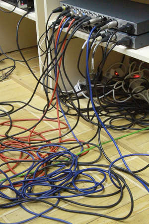 Tangled mess of electric power cords