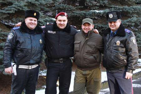 militia: LUTSK, UKRAINE - DEC 12, 2014. The officers of different departments Ukrainian militia on 12 December, 2014 in Lutsk, Ukraine