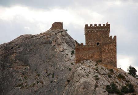 genoese: Tower of Genoese fortress in Sudak, Crimea Stock Photo