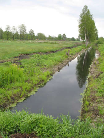 reclamation: Reclamation ditch dug in the fields. Agricultural technology. Stock Photo