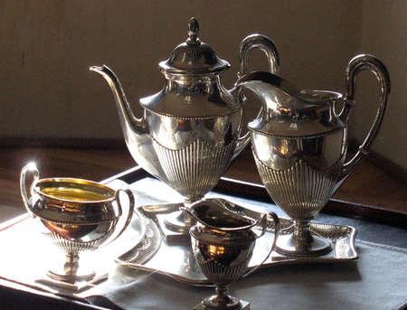 Antique set of tea in silver