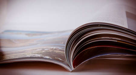 read magazine: The opened magazine. Focus on an upper edge of pages.