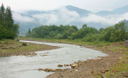 View of mountain river in cloudy weather, Carpathian Mountains, Ukraine Stock Photo