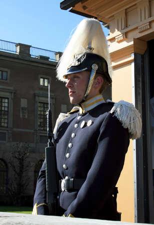 royal guard: STOCKHOLM, SWEDEN - APRIL 29, 2007: Royal Guard protecting Royal Palace in Stockholm.