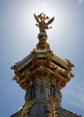 double headed eagle: The russian national symbol, a double headed eagle, in gold in Peterhof, St. Petersburg, Russia