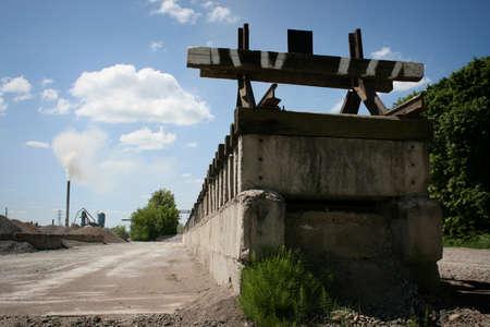 end line: Railway end line on a sunny day horizontal Foto de archivo