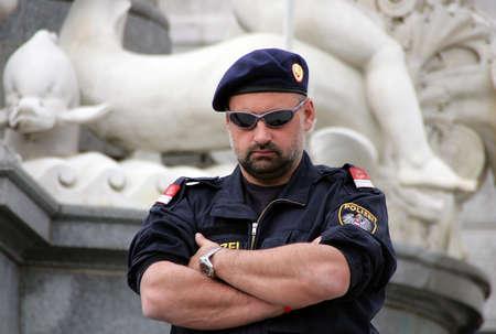 VIENNA, AUSTRIA - April 29: Unidentified policeman in sunglasses on April 29, 2009 in Vienna, Austria. Editorial