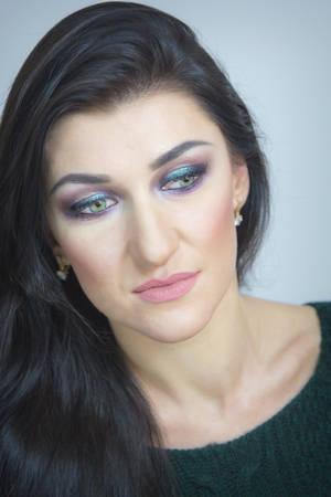 applying makeup: Mascara Applying. Makeup Close up. Eyes Make-up