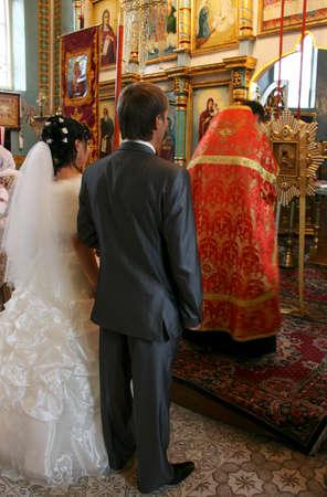 bible altar: LUTSK, UKRAINE - OCTOBER 03 - Wedding in Orthodox church  in Lutsk on October 03, 2008.