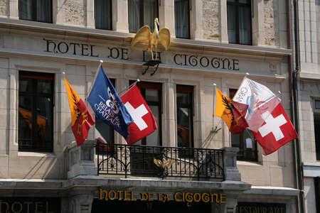 tenement buildings: Geneva, Switzerland - May 02, 2009: Hotel de la Cigogne in Geneva