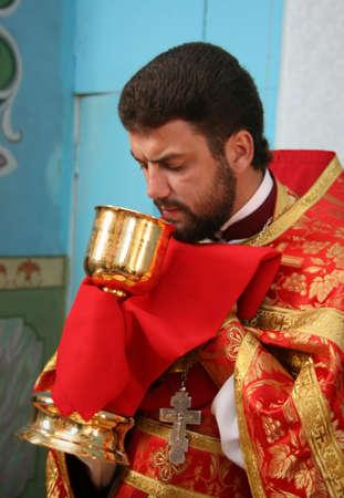 liturgy: LUTSK, UKRAINE - NOVEMBER 02 - Priest during orthodox liturgy ceremony in Lutsk on November 02, 2008.