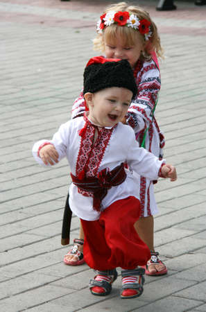 Lutsk, Ukraine - Аugust 24, 2012: Children in national costumes during Ukraine Independence Day Editorial