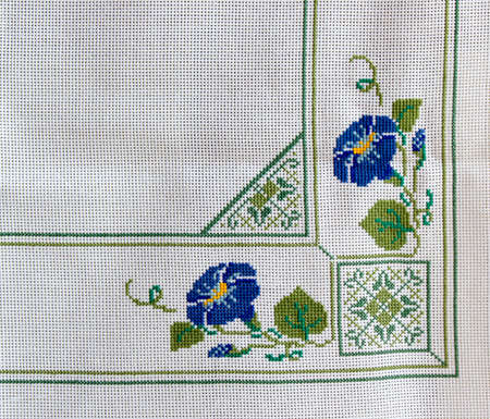 embroidered: Tablecloth with embroidered decorative ornament