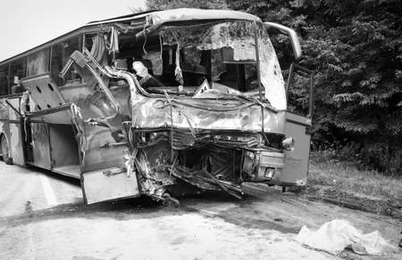devastating: KOVEL, UKRAINE - JULY 11: Scene of bus crash where nine Ukrainian, Belarusian and Bulgarian Tourists were died and as many as 30 others were injured July 11, 2013 just outside Kovel, Ukraine. Editorial