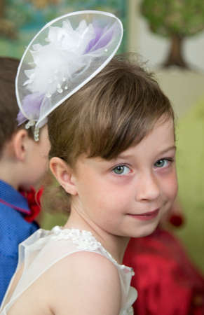 jardin de infantes: LUTSK, UKRAINE - MAY 31 - Girl in Ukrainian nursery school before graduation in Lutsk on May 31. 2016.