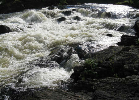 threshold: Threshold of the mountain river and wet stones