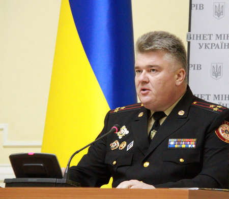 the chairman: KIEV, UKRAINE - November 10, 2014: Chairman of the State Emergency Service of Ukraine Colonel Sergei Bochkovsky. Investigators detained at a government meeting Ukraine 25 March 2015 on corruption in the public service of emergencies. Editorial