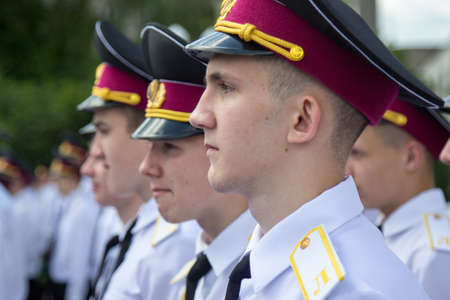 LUTSK, UKRAINE - MAY 27, 2016: Cadets of the Lutsk military lyceum during the oath. Shallow depth of field.