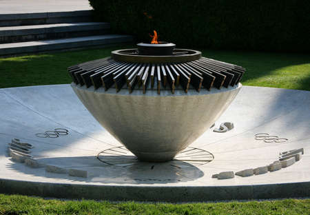 LAUSANNE, SWITZERLAND -03 May 2009: The Olympic Flame in Olympic Park in Lausanne. Here is Olympic Museum, largest archive of Olympic Games in the world.