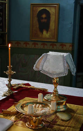liturgy: VOYUTYN, UKRAINE - 08 JANUARY 2009: Blessing of bread during orthodox liturgy ceremony Editorial
