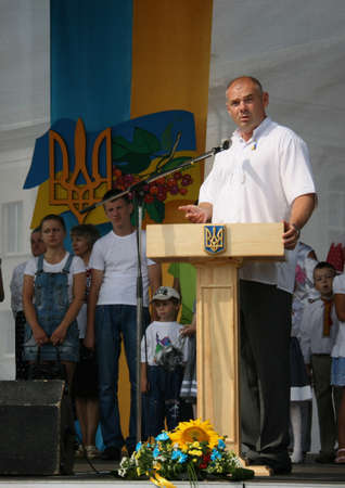 delivers: LUTSK, UKRAINE - 24 August 2012: Peoples deputy of Ukraine Ihor Palytsia delivers a speech during the celebration of Independence Day Editorial