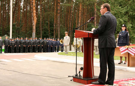 ZHURAVYCHI, UKRAINE - 12 September 2008: Minister of Internal Affairs Yuriy Lutsenko during the Ceremonial opening of temporary residence of foreigners and stateless persons who illegally stay in Ukraine