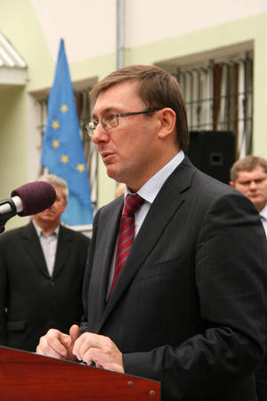 affairs: ZHURAVYCHI, UKRAINE - 12 September 2008: Minister of Internal Affairs Yuriy Lutsenko during the Ceremonial opening of temporary residence of foreigners and stateless persons who illegally stay in Ukraine