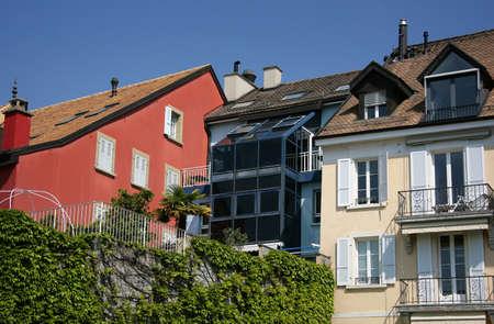 balcony window: Urban houses in Switzerland - roof, window, balcony.