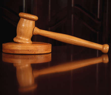 adjournment: Wooden justice gavel and sound block
