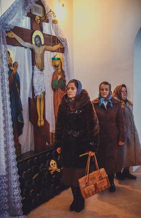 slavonic: LUTSK, UKRAINE - 14 OCTOBER 2016: Ukrainian parishioners of the Orthodox Church during Slavonic Religious celebration Pokrov Editorial