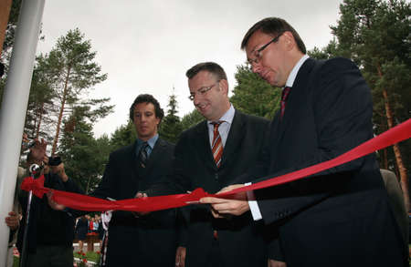 foreigners: ZHURAVYCHI, UKRAINE - 12 September 2008: Minister of Internal Affairs Yuriy Lutsenko (right) and  European Union authorities during the Ceremonial opening of temporary residence of foreigners and stateless persons who illegally stay in Ukraine Editorial