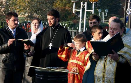 slavonic: LUTSK, UKRAINE - 14 OCTOBER 2008: Slavonic Religious celebration Pokrov
