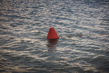 buoy: Floating navigational buoy on lake