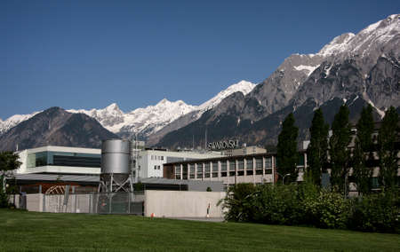 WATTENS, AUSTRIA - 07 May 2009: Swarovski Corporation headquarter. Company is traditional producer cut crystal and was founded by in 1895. Editorial