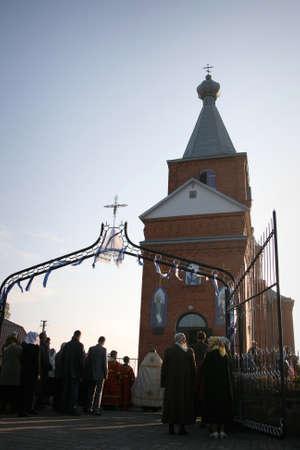 slavonic: LUTSK, UKRAINE - 14 OCTOBER 2008: Slavonic Religious celebration Pokrov in new ukrainian orthodox church