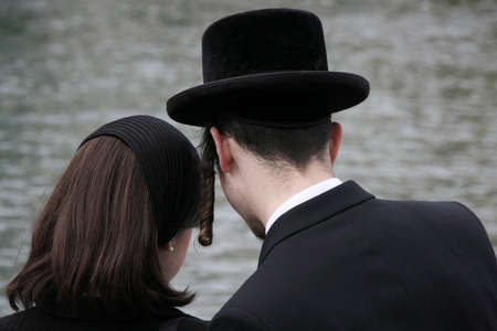 LUZERN, SWITZERLAND - 05 May 2009: Ultra Orthodox couple
