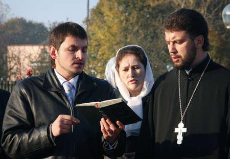 sotana: VOYUTYN, Ucrania - 14 de octubre de 2008: Celebración religiosa eslava Pokrov