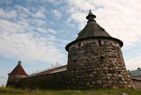 Towers of Spaso-Preobrazhensky monastery at Solovki islands in White sea, Russia