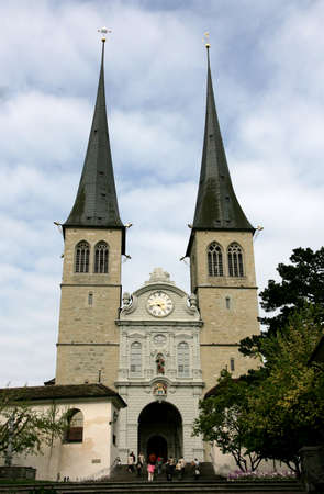leger: LUCERNE, SWITZERLAND - May 05, 2009: Church of St. Leodegar (also known as St. Leger Cathedral) the most important church and landmark in the city Editorial
