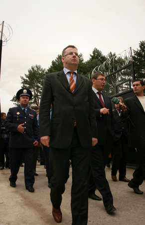 ZHURAVYCHI, UKRAINE - 12 September 2008: Minister of Internal Affairs Yuriy Lutsenko and  European Union authorities during the Ceremonial opening of temporary residence of foreigners and stateless persons who illegally stay in Ukraine Editorial
