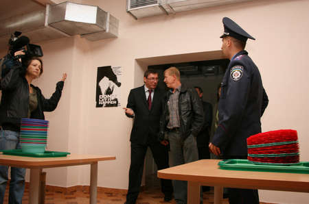 ZHURAVYCHI, UKRAINE - 12 September 2008: Minister of Internal Affairs Yuriy Lutsenko (L) in kitchen of temporary residence of foreigners and stateless persons who illegally stay in Ukraine Editorial