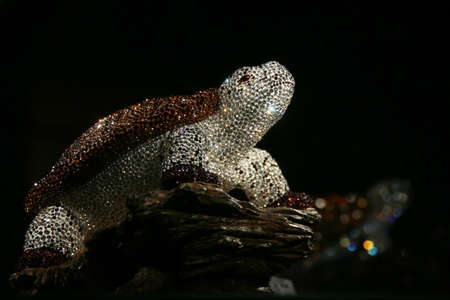 WATTENS, AUSTRIA - May 07, 2009: Turtle made with crystal Swarovski at Crystal Worlds (Kristallwelten) museum. Swarovski is an Austrian producer of luxury cut lead glass found in 1895