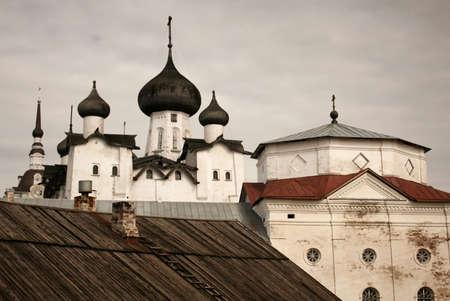 Spaso-Preobrazhensky Solovetsky monastery at Solovki islands in White sea, Russia. Vintage effects.