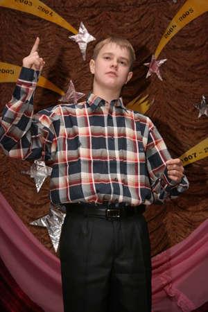 KAMIN, UKRAINE - 08 December 2008: Unknown teenager posing in classroom