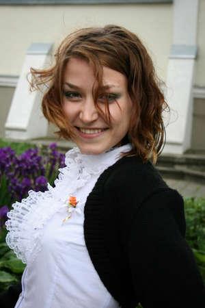 LUTSK, UKRAINE - 24 May 2008: Unknown beautiful spring girl in park Editorial