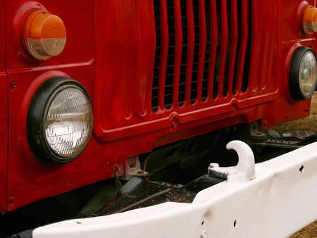 The radiator and bumper of old Soviet fire truck Editorial
