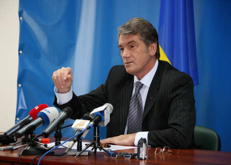 charisma: LUTSK, UKRAINE - 02 December 2008: Press conference of the President of Ukraine Viktor Yushchenko Editorial