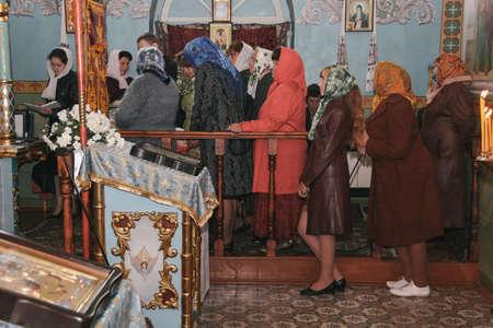 VOYUTYN, UKRAINE - 14 October 2008: Ð¡hurch choir during the religious celebration Pokrov